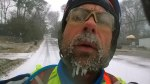 Tues, 1/28 @ 10:21AM - beard ice. By the top of Shades Crest, I can feel my beard growing icicles. As I am waiting for traffic to clear, I take a pic still thinking that the snow will stop and that my ice beard will melt by the time I make it into work. I still haven't realized what is unfolding, partly because I'm having absolutely no problems with traction on my road bike.