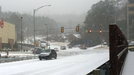 Tues, 1/28 @ 11:21AM - brookwood hospital trouble. Already cars are starting to have trouble on this hill leading up to the hospital.