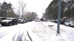 Tues, 1/28 @ 12:44PM - Lakeshore Dr at Samford University looking west. I go out the entrance (instead of the exit) to make it down to this point. No need to wait for the light as nobody is moving anywhere! I ride down the embankment on the other side of the cars on the left of this picture to the Lakeshore Trail where foot traffic has started to pick up.