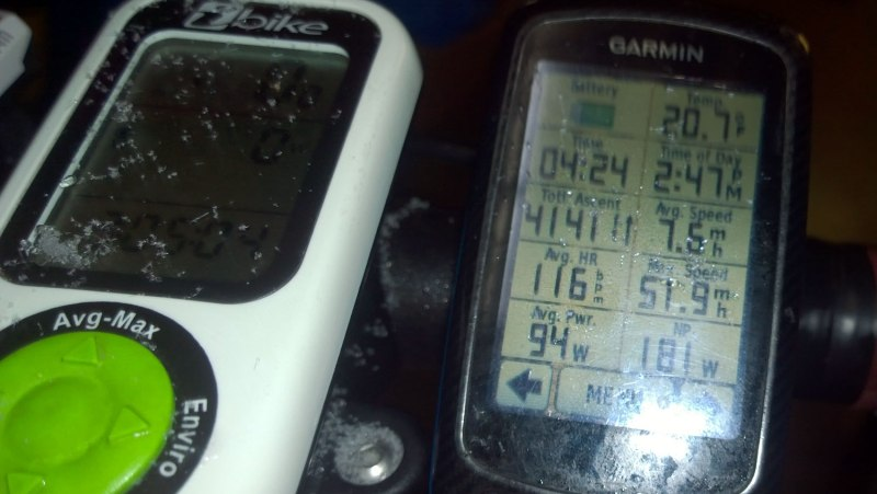 Tues 1/28 @ 2:47PM - ride stats. I take a picture of my ride stats for my commute - 4 hours 24 minutes (not counting the hour-long stay at Samford to warm up), 33.7 miles, with temps in the teens for most of the day barely warming up to 20 degF by the time I make it back. The max speed occurred on one of the steep downhills at the very beginning while it was still only just starting to flurry and the streets were not even wet yet. I spent a lot of time barely moving and soft pedaling, so the average power is about right, but the heartrate is a bit higher than it should be for such a low average speed and wattage. I'm pretty sure this was caused by a combination of stresses: wondering if I'm going to fall, mental effort picking out a route through the snow and ice, being surprised and shock at what I'm seeing, and battling the cold temps.