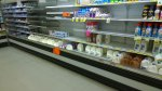 Tues 1/28 @ 5:53PM - Milk! I'm not sure what I'm going to find when I make it back to the milk section, but it certainly isn't this! This picture actually says a lot about how this storm has caught everyone by surprise. There should not be any milk visible in this picture. Of note, all the 2% milk is gone (actually, now that I look at this picture, I think the milk on the very far left with the red cap is 2% ... doh!!!)