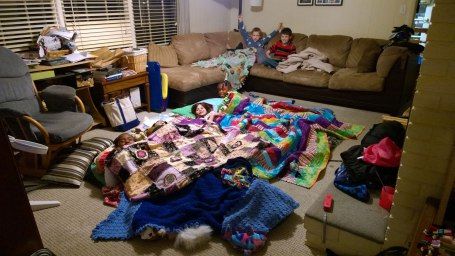Tues, 1/28 @ 9:42PM - city-wide sleepover. People sleep in their offices. Kids sleep at schools. At our house, we have a sleepover with stranded kids whose parents cannot make it to Rocky Ridge Elementary. Over 200 kids spend the night at Rocky Ridge as do 4300 other students across the entire Hoover school system.