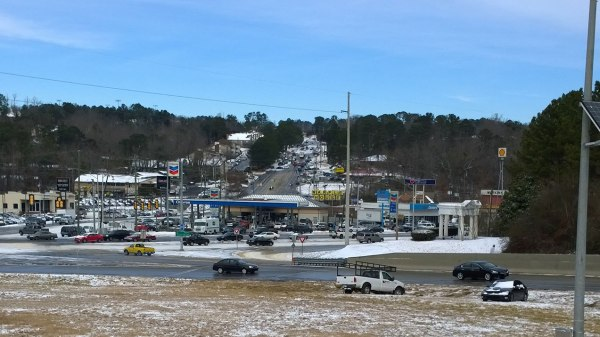 Wed, 1/29 @ 11:17AM - columbiana blockage. When we finally make it back to Hwy 31, we see an incredible view looking up Columbiana with cars turned sideways and/or parked in the middle of the road.