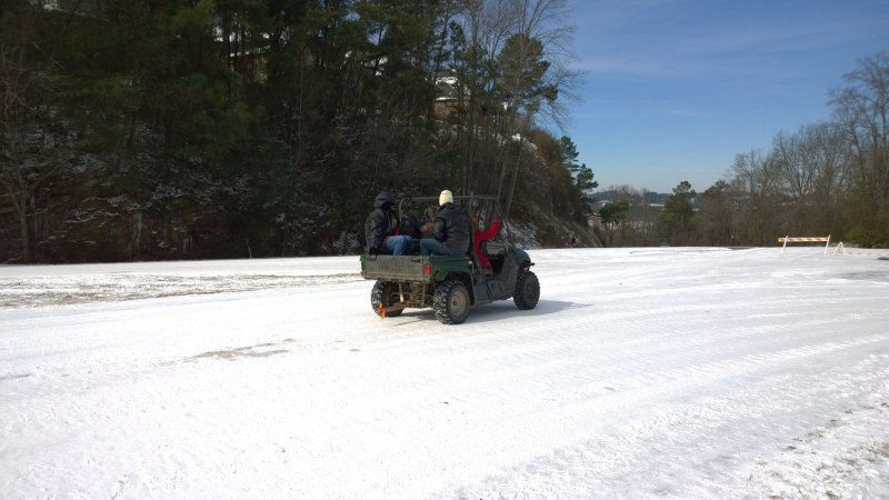 Wed, 1/19 @ 11:48AM - gators and atvs. We see lots of these on Columbiana including several shuttling people up and down the hill. We're about to find out why!