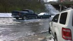 Wed, 1/29 @ 12:10PM - forest brook hill carnage. These cars have smashed into each other at the bottom of the hill. Somebody has side-swiped the escape in the foreground and driven away. While we are taking pictures, a car unbelieveably tries to drive up the hill and almost joins the pileup. Here is a video of him not making it and backing back down the hill: http://youtu.be/edE2UWdkwM8.