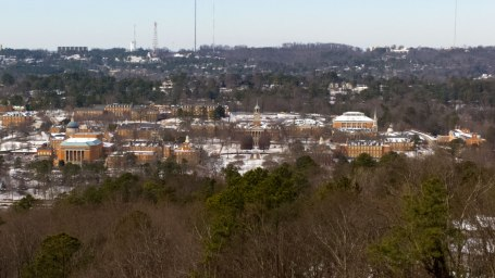 Wed, 1/29 @ 1:39PM - Samford University in the snow. At the top of Hwy 31, I take this hi-res picture of Samford still covered in snow.