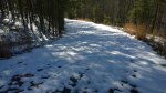 Thurs, 1/30 @ 2:34PM - double oak snow. There is still lots of snow high up on double oak wherever the road has stayed in the shade. I descend this snowy road at the beginning of this video: http://youtu.be/83fVBmRVIkM