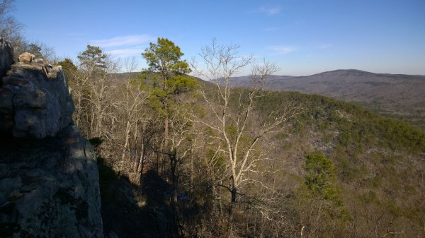 Thurs, 1/30 @ 2:53PM - the cliffs. Following tire tracks in the snow, I stumble upon the cliffs at double oak. There is a sweeping view of the entire Coosa River valley.