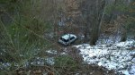 Thurs, 1/30 @ 4:19PM - Caldwell Mill Rd gulley. As I get closer back to home, I come upon a stretch of Caldwell Mill down to one lane. There are several cars abandoned on the side of the road and one truck pulling a trailer blocking half the road. Also, there is this Ford Explorer that went over the edge down into the steep gulley. Even though I'm sure there is noone in the car, it is hidden enough from the road that I slide down there just to make sure. I capture that moment here in this video: http://youtu.be/3iyUGP48X90
