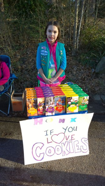 Fri, 1/31 @ 4:17PM - girl scout cookies. Analise spends the afternoon selling girl scout cookies while Josiah and I go out for a bike ride to the dog park. Life is finally back to normal.