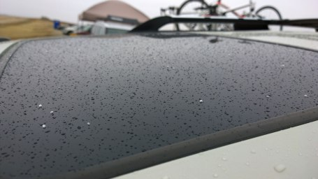 Snow / sleet on top of my car at the start/finish area
