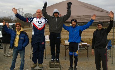 Union Grove Time Trial Podium - (left to right) - Jason Brasel (4th), Kurt Page (2nd), Mike Olheiser (1st), Me (3rd), and Doug Robinson (5th).