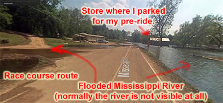 Google street-view of the turn onto 2nd gravel. The Mississippi River was at flood stage when the streetview car drove by. During the race, you cannot normally see the river.