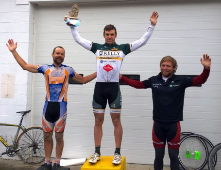 2014 Hell of the South Pro-1-2 podium. Left to right - Brian Toone (Friends of the Great Smokies), David Novak (Kelly Benefits), Tanner Hurst (Cumberland University Cycling Team)