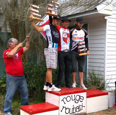 2014 Rouge Roubaix Pro/1/2 podium - Stefan Rothe (Elbowz), Heath Blackgrove (Boneshaker), Logan Hutchings (Boneshaker), left to right.