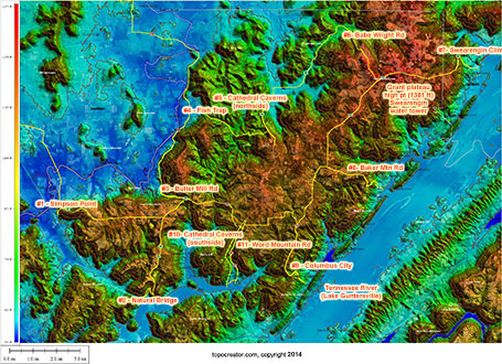 11 ways to climb the Grant plateau (click to enlarge, click twice to zoom really far in)