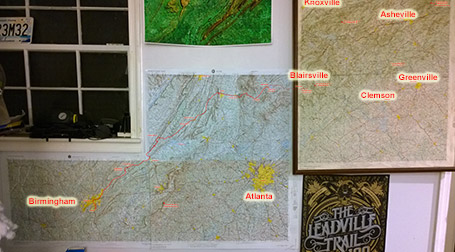 Map showing my commute from Hoover, AL to Blairsville, GA in the North Georgia mountains. Click to enlarge and see all the annotations. This is the wall in our basement next to where I do all my work from home. I get to see some of my favorite places in the country in a raised relief map, including the highest points in AL, GA, TN, SC, and NC!