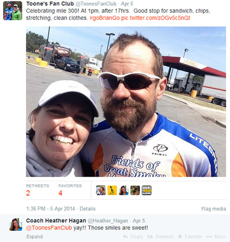 Kristine's post on twitter celebrating mile 300 two hours ahead of a record-breaking pace. At this point I only needed to ride the last 200 miles in 13 hours to break the record.