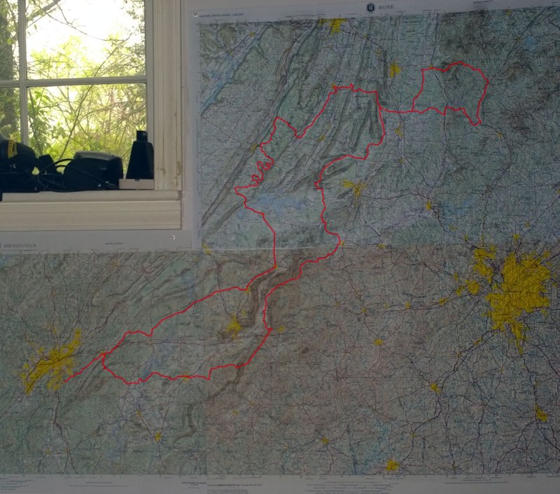 Heart of the south 500 mile course - raised relief maps