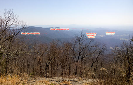 View of the Woody Gap climb from standing below the firetower at the very top of the mountain. Click to enlarge.
