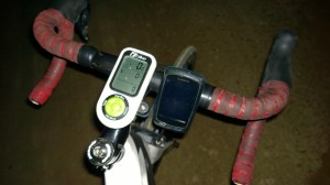 My iBike and Garmin on Blockhouse (with flash)