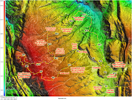Annotated topocreator map of the entire course. One of the advantages of the topocreator map over Google terrain view is that it is very easy to pick out the high points on a course like this with all its gentle sloping.
