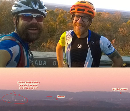 Kyle Taylor and I at the Ada Overlook annotated to show my hometown on our Friday pre-ride just before running into Ty Magner.