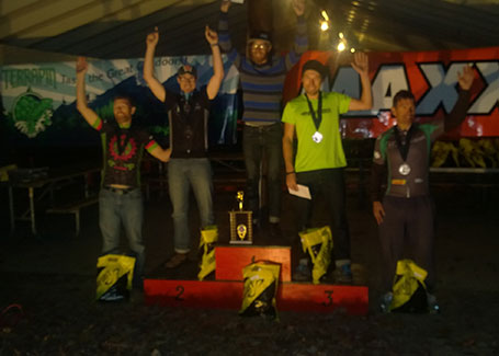 2014 Oak Ass 100 mile podium - left to right - Justin Lowe, Gordon Wadsworth, Kyle Taylor, Barnabas Froystad, and Jeff Clayton