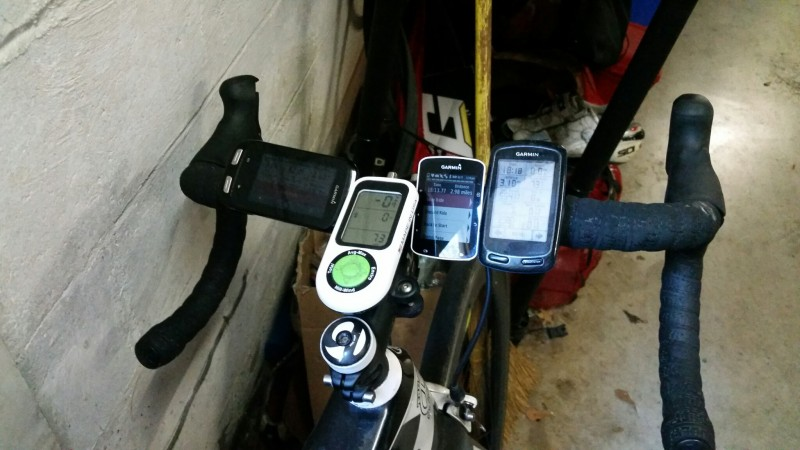 Three GPS devices and one iBike.