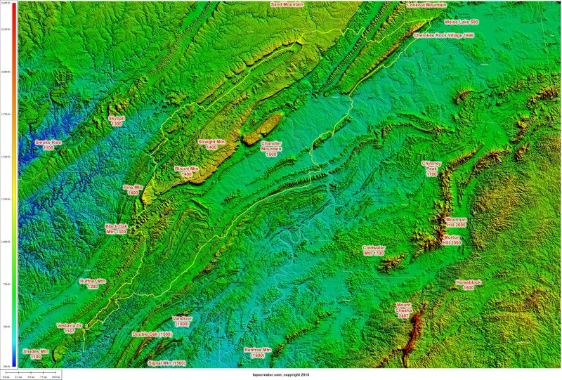 Annotated view of all the larger mountains I have climbed along or near the route, including those within view from the top of Cherokee Rock Village. Click to zoom.