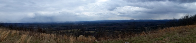 Snow showers visible from the top of Blount Mountain near Straight Mountain, Alabama.