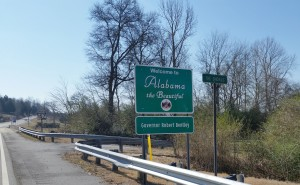 I like this Welcome to Alabama sign at The Shoals.