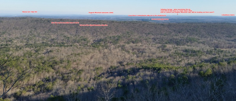 View from the double oak cliffs at the turnaround point. Annotated ridges beyond Chelsea. Click to enlarge.