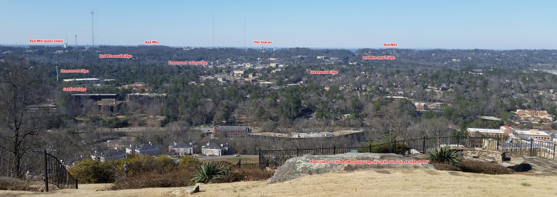 View from Vestavia Dr, the highest pt on Shades Mountain at 1167'. Ridges annotated north towards Birmingham. Click to enlarge.