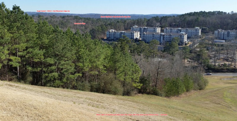 View from the Healthsouth Helicopter Hill with annotated ridges to the southeast - too low to see Double Oak beyond the Hugh Daniel ridge line. Click to enlarge.