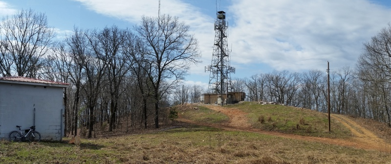 Looking back up at the Sleeping Giant fire tower from just below the top.