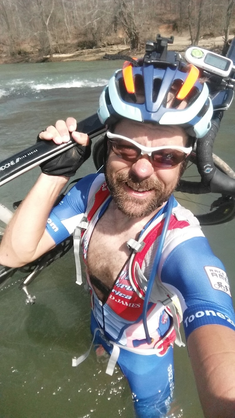 Rouge Roubaix prep - fording the Cahaba River on Thursday.