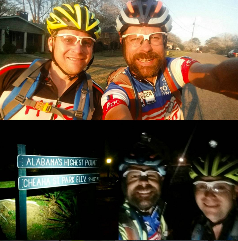 Michael Staley and I leaving my house in Birmingham and about 5 hours later on top of Mount Cheaha.