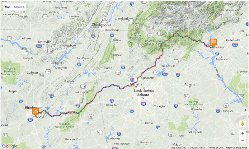 Shift map for my ride from Hoover to Clemson via Cheaha and Brasstown. Click to see an interactive version.