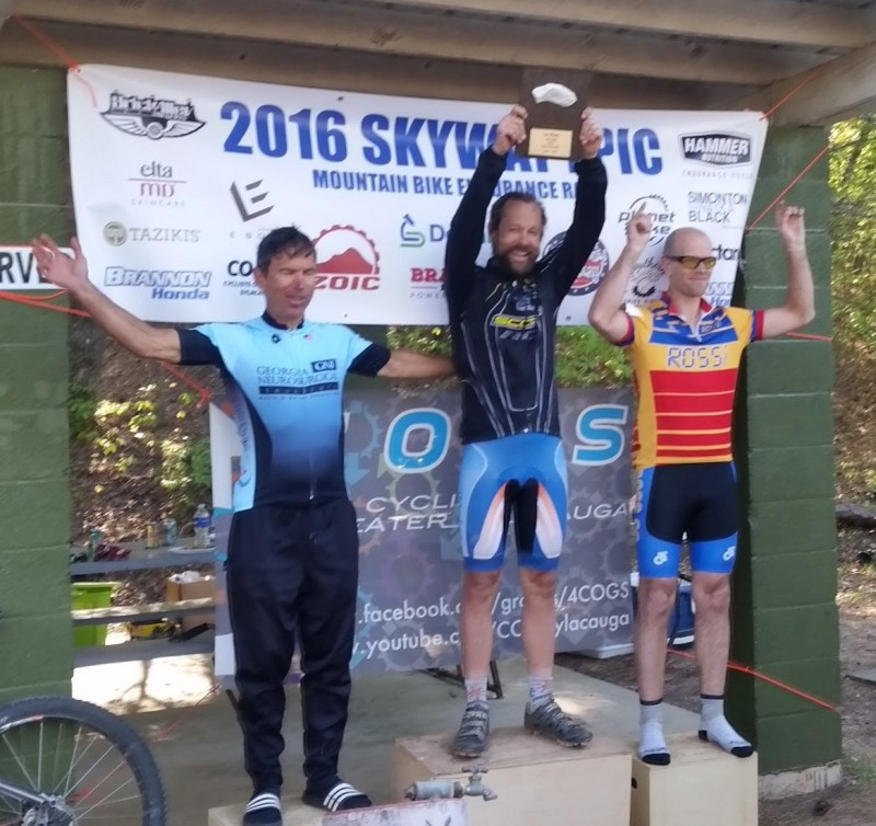 Skyway 2016 Men's 100 podium. Left-to-right: Jeff Clayton, Brian Toone, and Hefin Jones