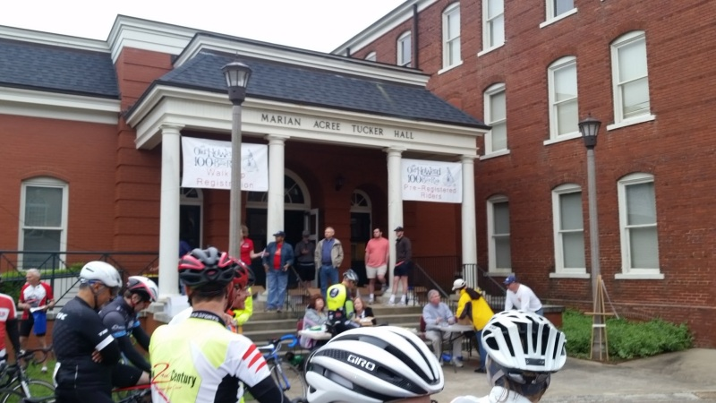 Listening to introductions before the start of the Old Howard Century on the campus of Judson College.
