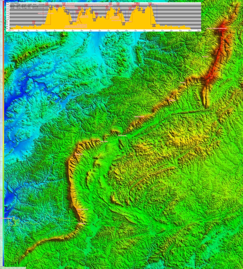 Finally, here is an annotated topocreator map of the entire Skyway Epic ridge line up to Mount Cheaha. Click to enlarge and see detail.