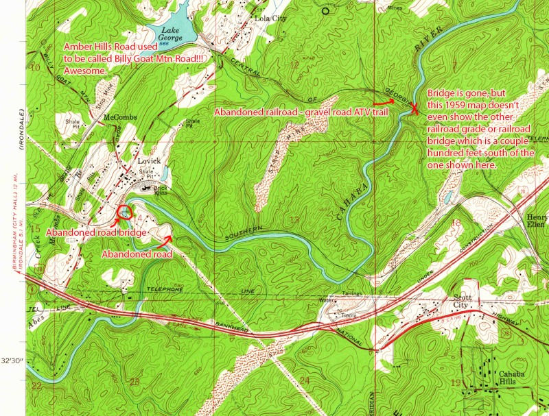 1959 digitized historical USGS map annotated to show abandoned railroad bridges and abandoned road bridge over the Cahaba River.