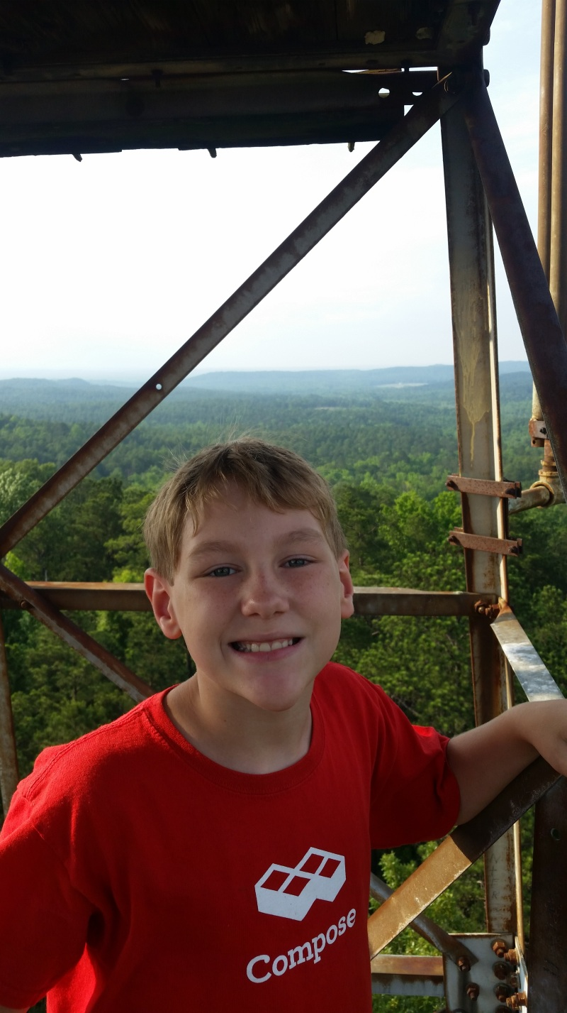 Josiah at the top of the Cahaba Lookout Tower.