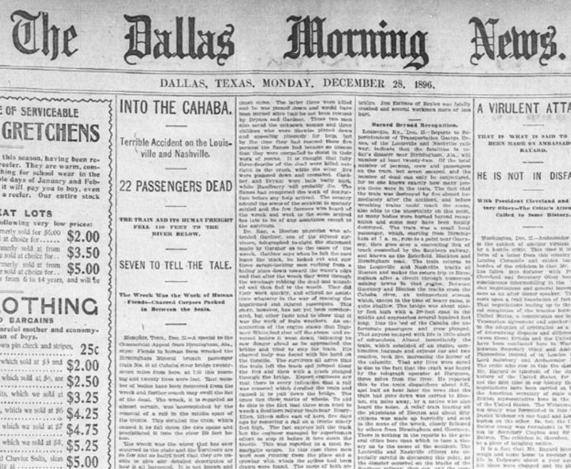 Dec 28, 1896 Dallas Morning News frontpage coverage of the fatal Cahaba train wreck.