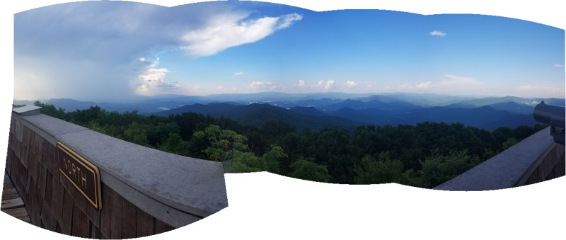 Panorama looking north from the Brasstown Bald tower with the thunderstorm that had passed over clearing everybody out visible off to the northwest. I was alone on top of the mountain!