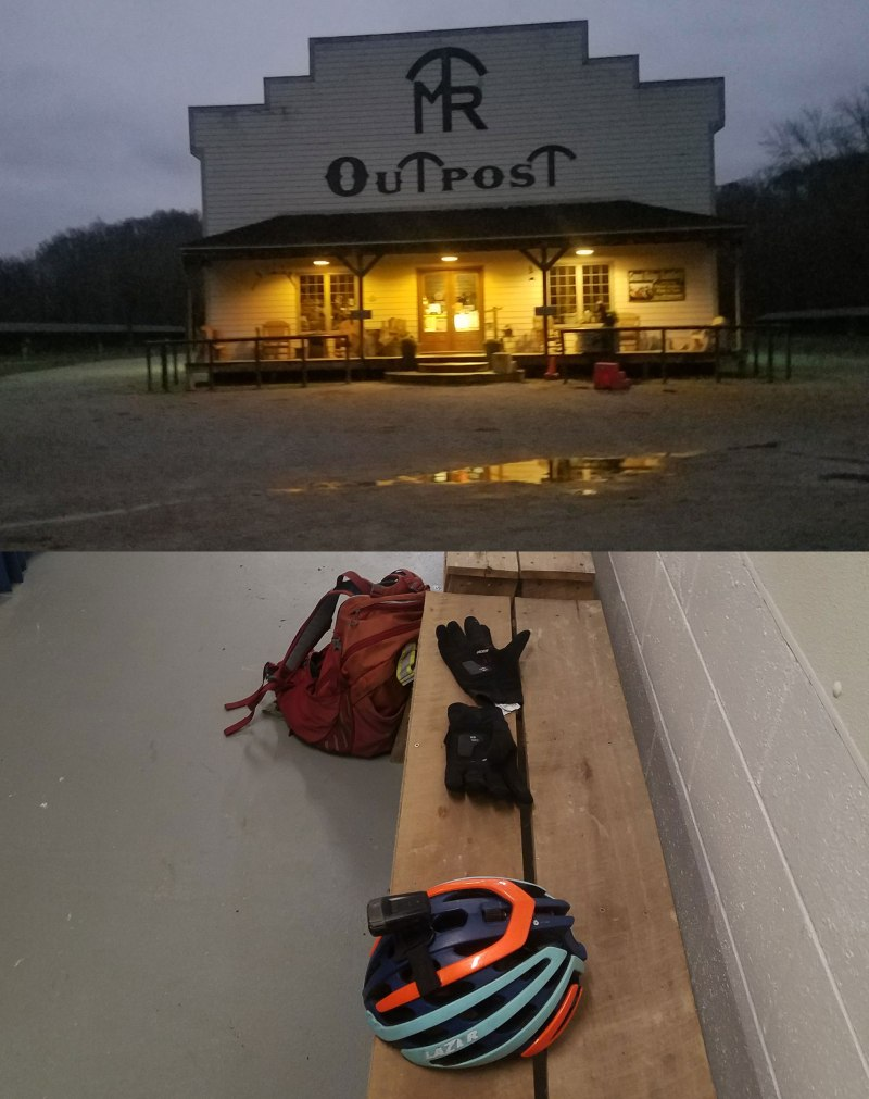 Midwest Trail Rides outpost and bathrooms - finally, a dry place to change clothes!