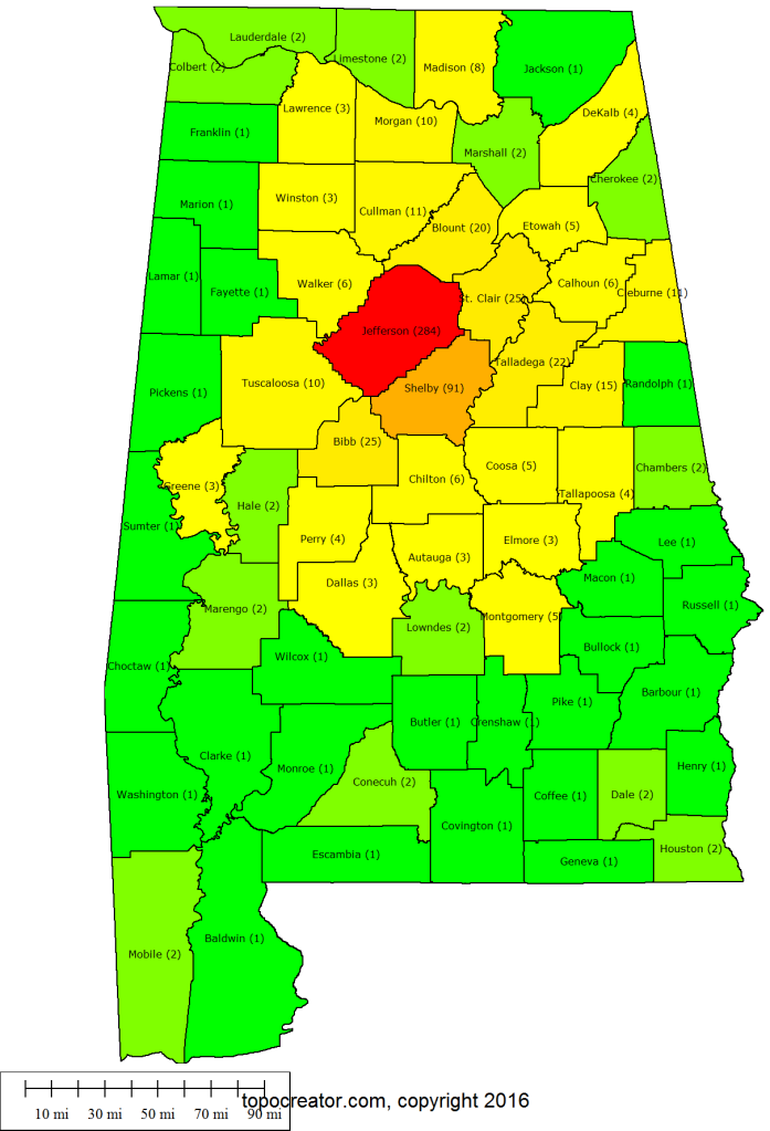 2016 county heat map - all of Alabama in one year! Numbers in parentheses are the number of different rides that enter the county.