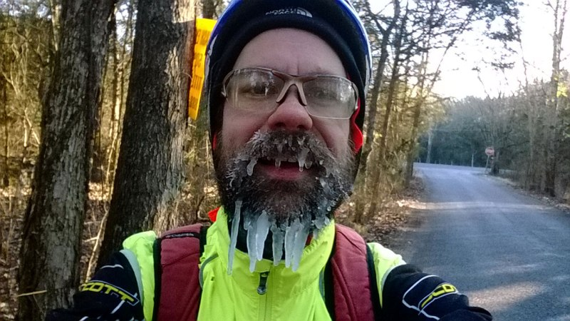 Ice beard in December 2013 early on in my failed attempt to ride home from Nashville.